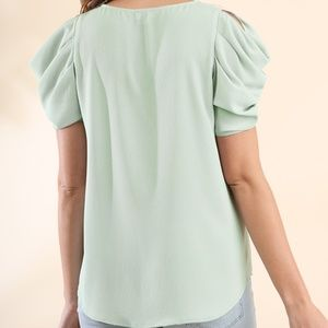 78ce16c5b98792 Umgee Tops - Light Green Blouse Gathered Cut out Shoulder Top